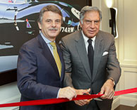Dr Ralph Speth CEO  Jaguar Land Rover & Ratan Tata Chairman TATA Group opening the new Jaguar Suite at the Taj Buckingham Gate